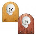 Bichon Frise Dog Wooden Oak Key Leash Rack Hanger