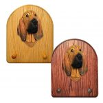 Bloodhound Dog Wooden Oak Key Leash Rack Hanger