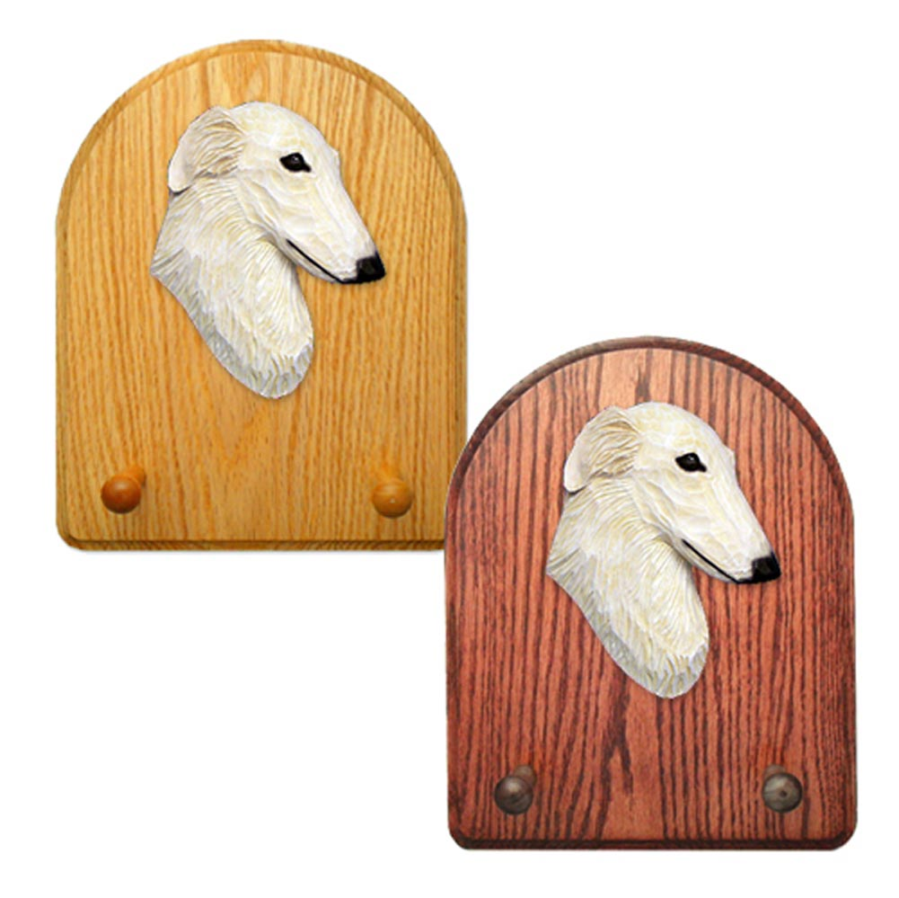 Borzoi Dog Wooden Oak Key Leash Rack Hanger Cream