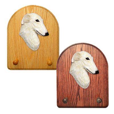 Borzoi Dog Wooden Oak Key Leash Rack Hanger Cream