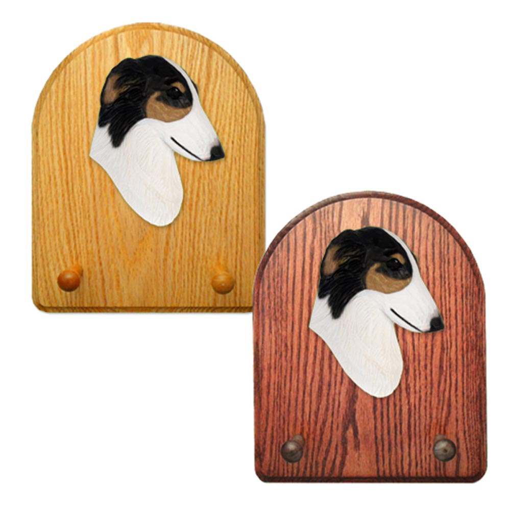 Borzoi Dog Wooden Oak Key Leash Rack Hanger Tri