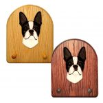 Boston Terrier Dog Wooden Oak Key Leash Rack Hanger Black