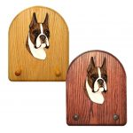 Boxer Dog Wooden Oak Key Leash Rack Hanger Brindle 1