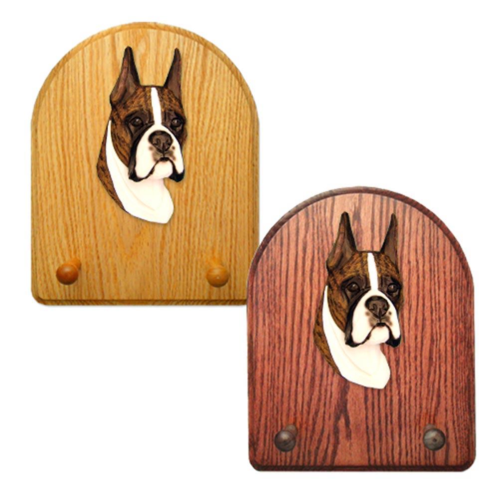 Boxer Dog Wooden Oak Key Leash Rack Hanger Brindle