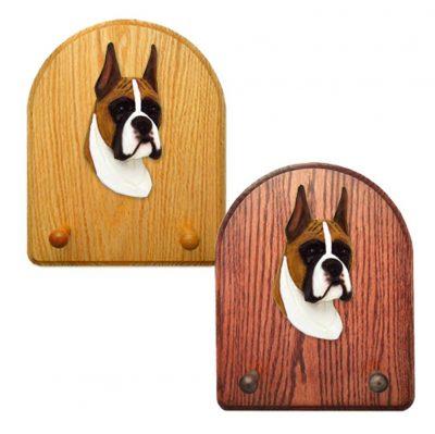 Boxer Dog Wooden Oak Key Leash Rack Hanger Fawn 1