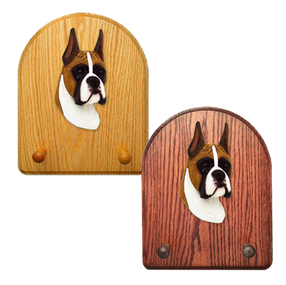 Boxer Dog Wooden Oak Key Leash Rack Hanger Fawn
