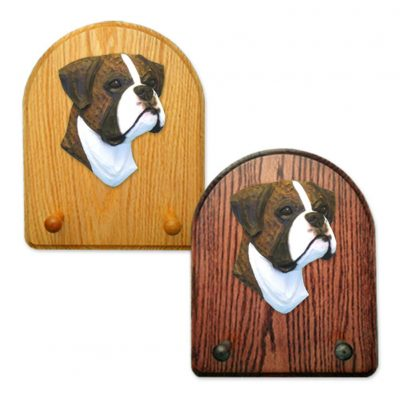 Boxer (natural) Dog Wooden Oak Key Leash Rack Hanger Brindle 1