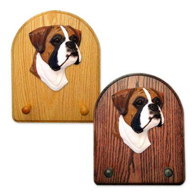 Boxer (natural) Dog Wooden Oak Key Leash Rack Hanger Fawn 1