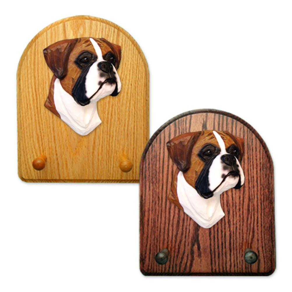 Boxer (natural) Dog Wooden Oak Key Leash Rack Hanger Fawn