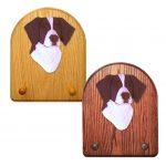Brittany Dog Wooden Oak Key Leash Rack Hanger Liver 1