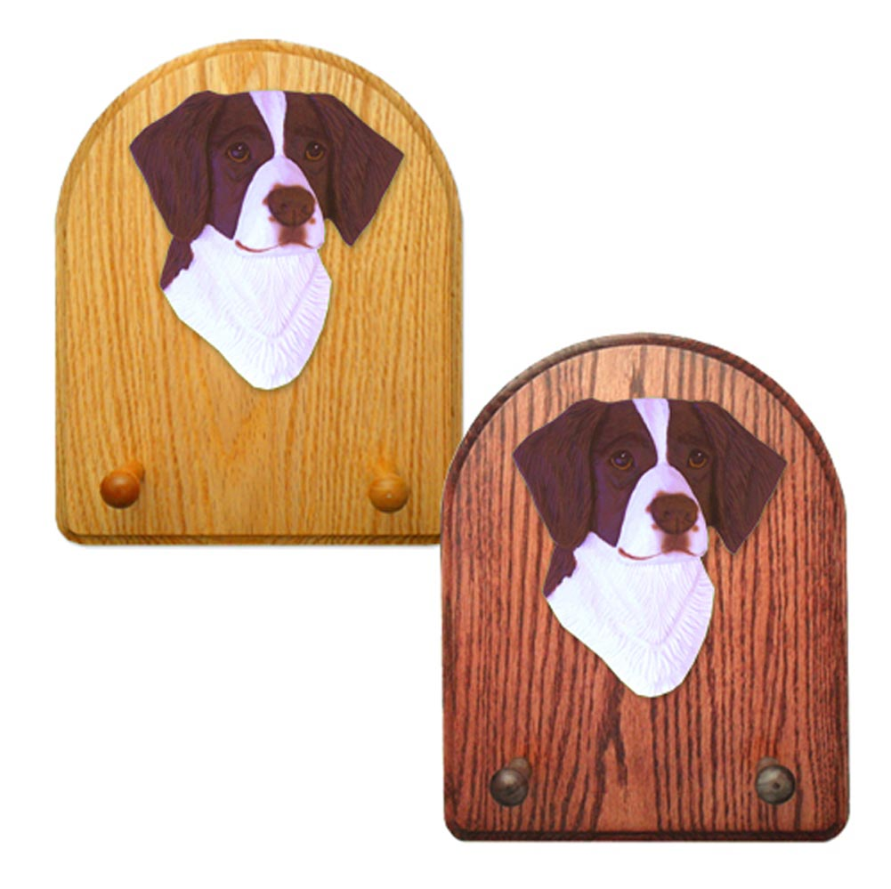 Brittany Dog Wooden Oak Key Leash Rack Hanger Liver