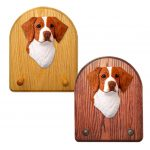 Brittany Dog Wooden Oak Key Leash Rack Hanger Orange