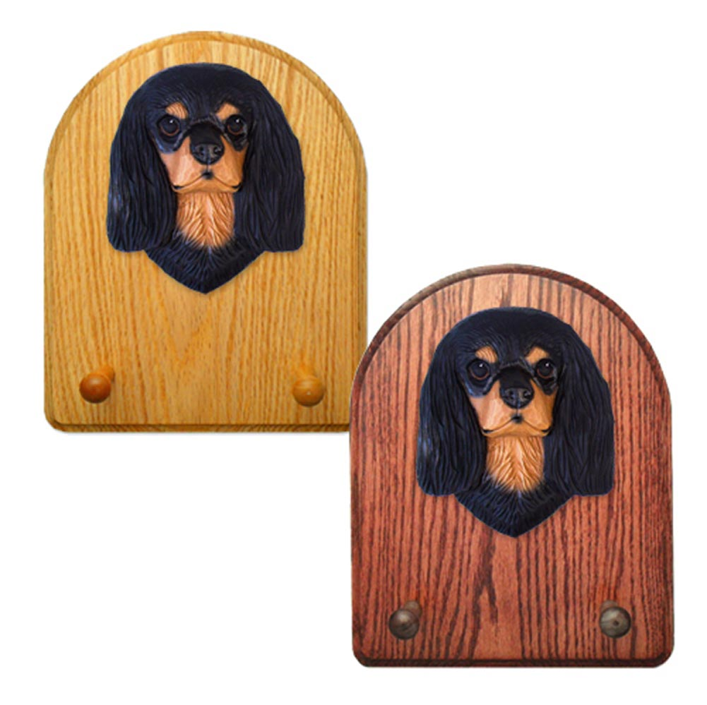 Cavalier King Charles Spaniel Dog Wooden Oak Key Leash Rack Hanger Black/Tan