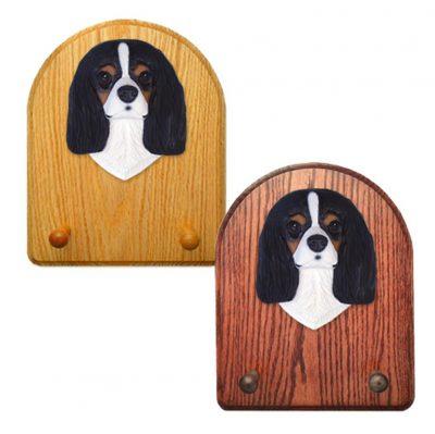 Cavalier King Charles Spaniel Dog Wooden Oak Key Leash Rack Hanger Black Tri 1