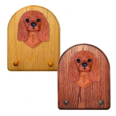Cavalier King Charles Spaniel Dog Wooden Oak Key Leash Rack Hanger Ruby 1