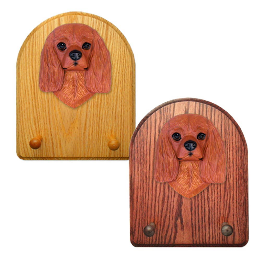 Cavalier King Charles Spaniel Dog Wooden Oak Key Leash Rack Hanger Ruby
