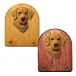 Chesapeake Bay Retriever Dog Wooden Oak Key Leash Rack Hanger