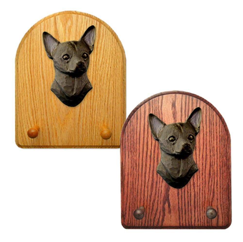 Chihuahua Dog Wooden Oak Key Leash Rack Hanger Black