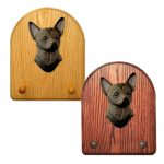 Chihuahua Dog Wooden Oak Key Leash Rack Hanger Black