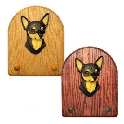 Chihuahua Dog Wooden Oak Key Leash Rack Hanger Black/Tan 1