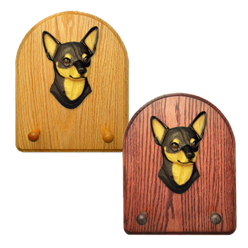 Chihuahua Dog Wooden Oak Key Leash Rack Hanger Black/Tan
