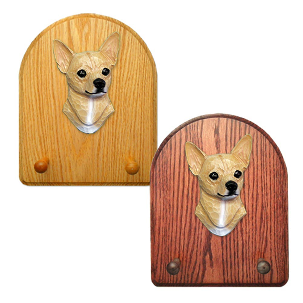 Chihuahua Dog Wooden Oak Key Leash Rack Hanger Fawn