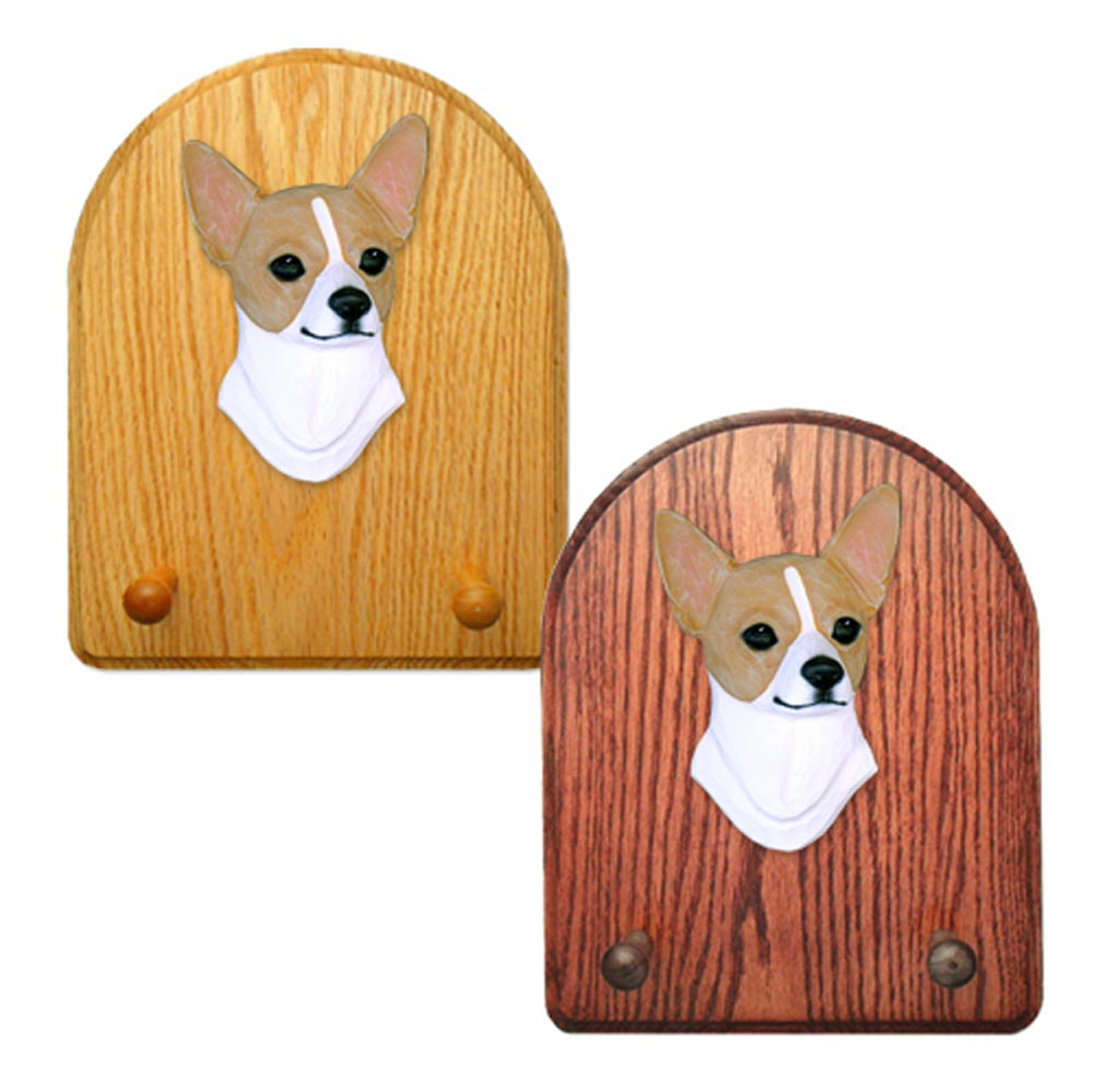 Chihuahua Dog Wooden Oak Key Leash Rack Hanger Fawn/White