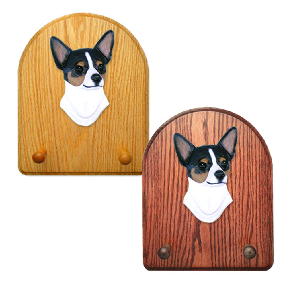 Chihuahua Dog Wooden Oak Key Leash Rack Hanger Tri
