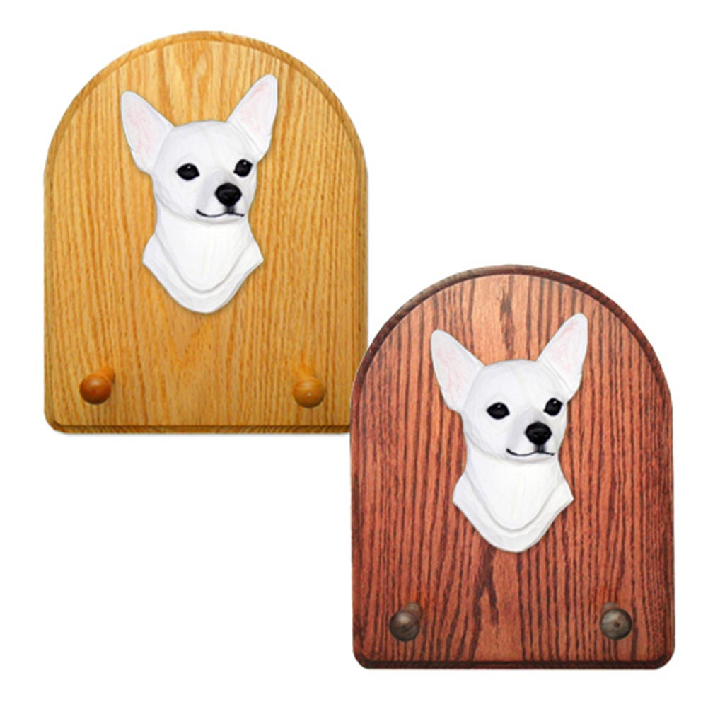 Chihuahua Dog Wooden Oak Key Leash Rack Hanger White