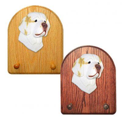 Clumber Spaniel Dog Wooden Oak Key Leash Rack Hanger Lemon 1
