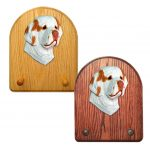 Clumber Spaniel Dog Wooden Oak Key Leash Rack Hanger Orange