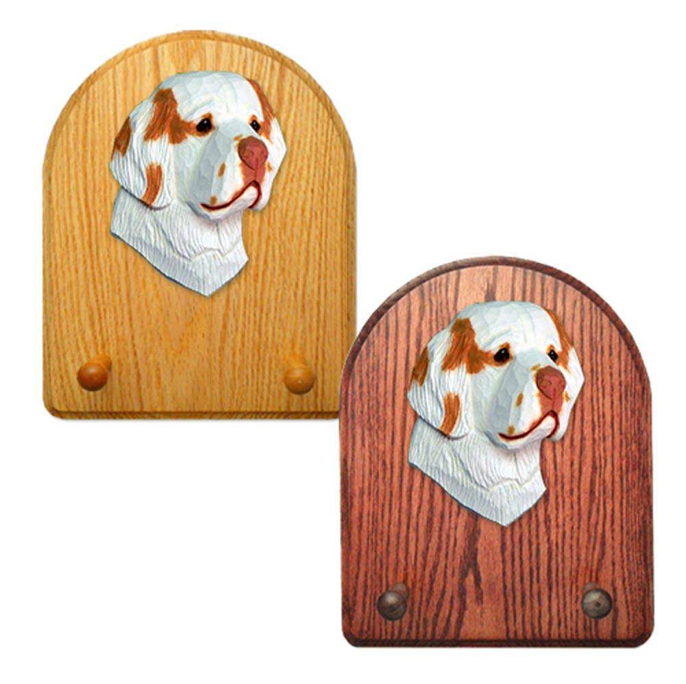 Clumber Spaniel Dog Wooden Oak Key Leash Rack Hanger Orange