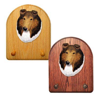 Collie Dog Wooden Oak Key Leash Rack Hanger Sable