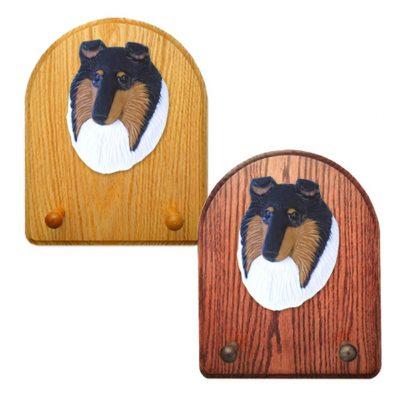 Collie Dog Wooden Oak Key Leash Rack Hanger Tri