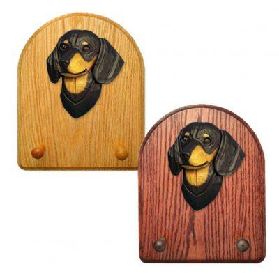 Dachshund Dog Wooden Oak Key Leash Rack Hanger Black/Tan Smooth 1