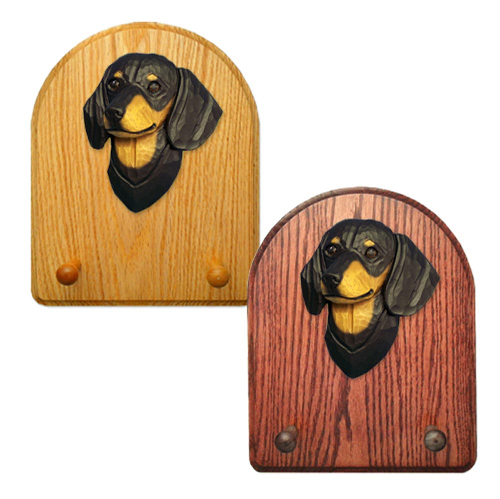 Dachshund Dog Wooden Oak Key Leash Rack Hanger Black/Tan Smooth