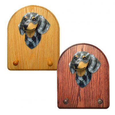 Dachshund Dog Wooden Oak Key Leash Rack Hanger Blue Dapple Smooth 1