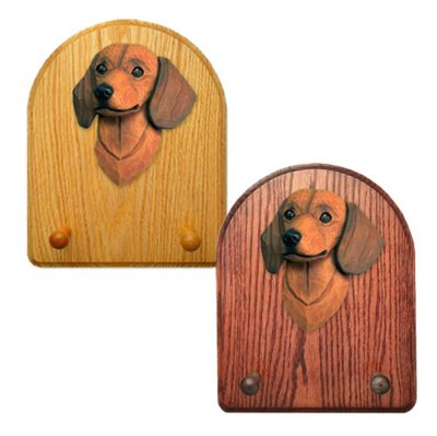 Dachshund Dog Wooden Oak Key Leash Rack Hanger Red Smooth 1