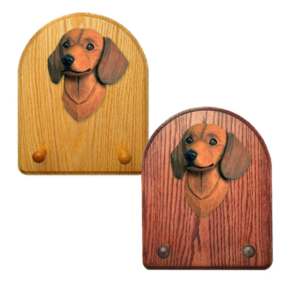 Dachshund Dog Wooden Oak Key Leash Rack Hanger Red Smooth
