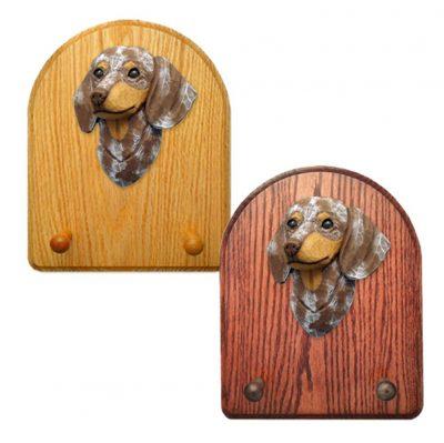 Dachshund Dog Wooden Oak Key Leash Rack Hanger Red Dapple Smooth 1