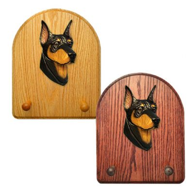 Doberman Dog Wooden Oak Key Leash Rack Hanger Black/Tan 1