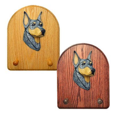 Doberman Dog Wooden Oak Key Leash Rack Hanger Blue
