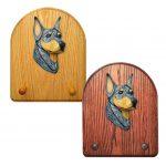 Doberman Dog Wooden Oak Key Leash Rack Hanger Blue