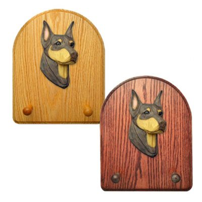Doberman Dog Wooden Oak Key Leash Rack Hanger Red/Tan