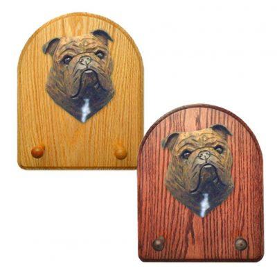 English Bulldog Dog Wooden Oak Key Leash Rack Hanger Brindle 1