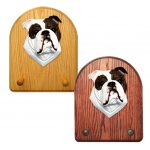 English Bulldog Dog Wooden Oak Key Leash Rack Hanger Brindle/White 1