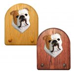 English Bulldog Dog Wooden Oak Key Leash Rack Hanger Tan 1