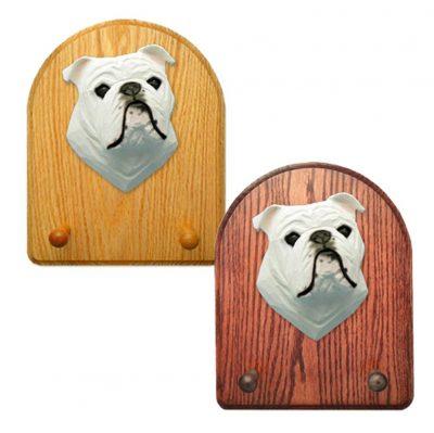 English Bulldog Dog Wooden Oak Key Leash Rack Hanger White 1
