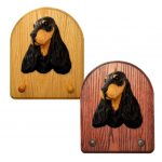 English Cocker Spaniel Dog Wooden Oak Key Leash Rack Hanger Black/Tan