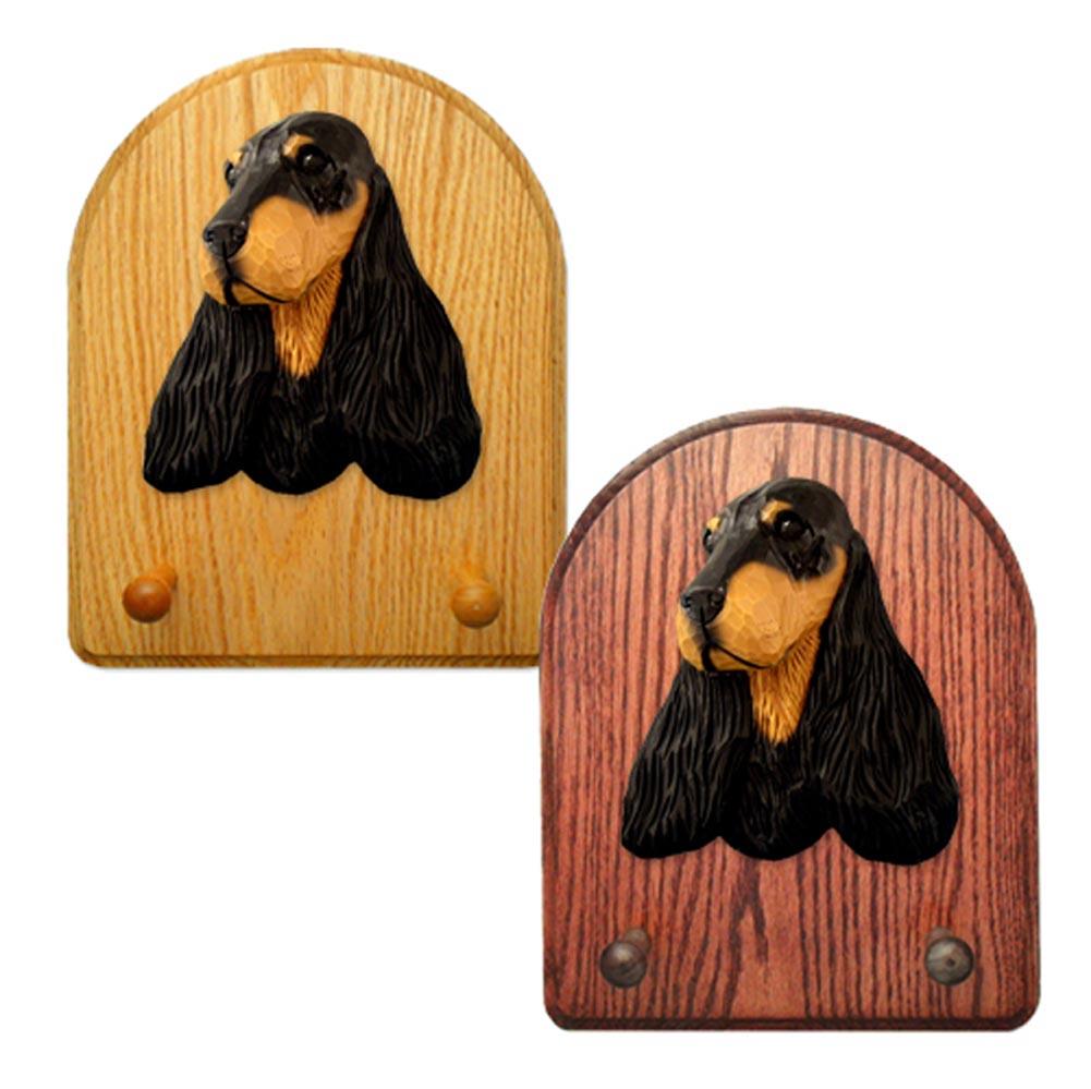 English Cocker Spaniel Dog Wooden Oak Key Leash Rack Hanger Black/Tan